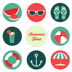 Flat vector summer icons set