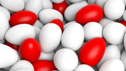 Background with many white and red eggs
