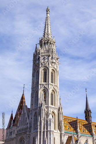 Budapest, Hungary. Architecture of a cathedral of Saint Matiash