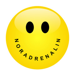 Smiley mit Schriftzug NORADRENALIN als Mund – Vektor