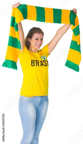 Happy football fan in brasil tshirt