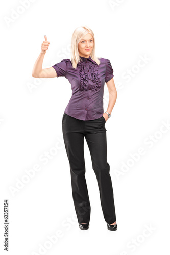 Stylish woman giving thumb up