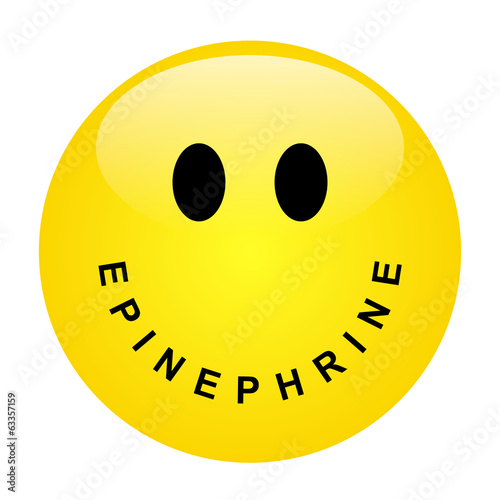 Smiley with lettering EPINEPHRINE as mouth - vector