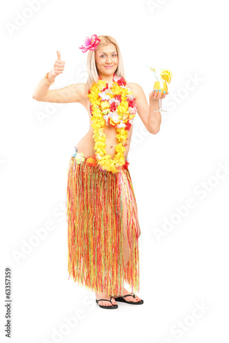 Woman in hawaiian costume giving thumb up