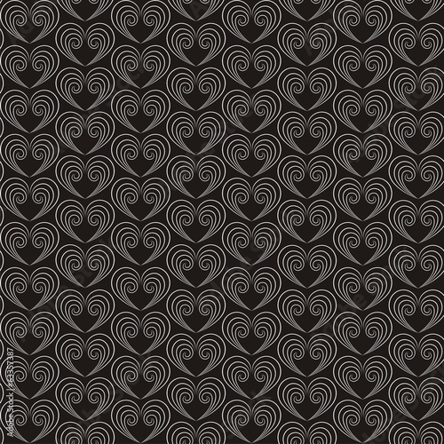 Vector illustration of seamless decorative pattern with hearts