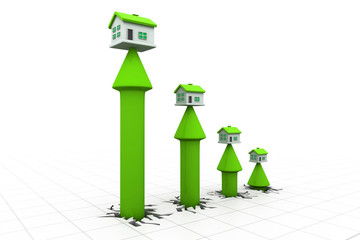 3d house and arrow graph. Growth in real estate .