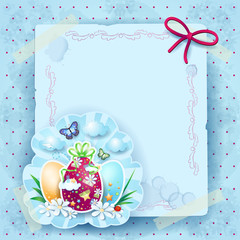 Easter background with eggs and copy space