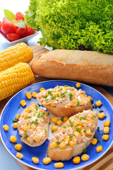 Sandwich with tuna paste and sweetcorn