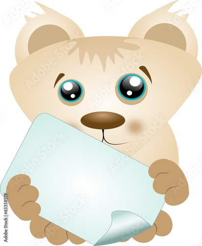 Cute bear with rectangle label