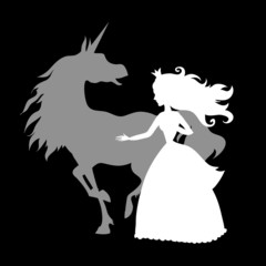 princess and unicorn silhouettes