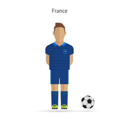 National football player. France soccer team uniform.