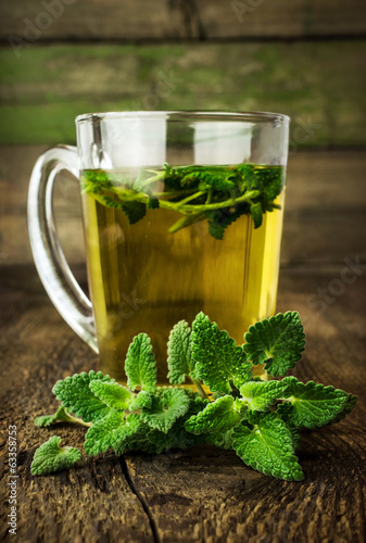 mint tea in glass cup