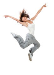 slim hip-hop style teenage girl dancer jumping dancing