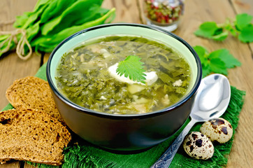 Soup green sorrel and nettles with a spoon on board