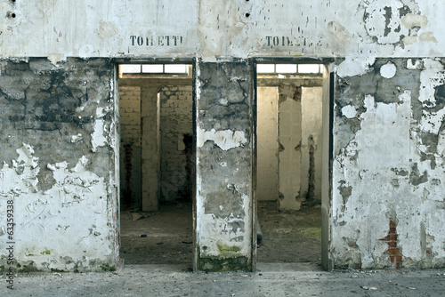 Old toilets in an abandoned factory