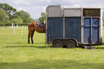 Horse trailer at equestrian event