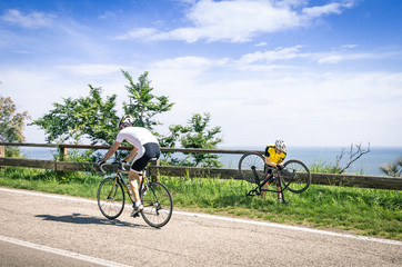 Cyclist in troubles during bicycle Race