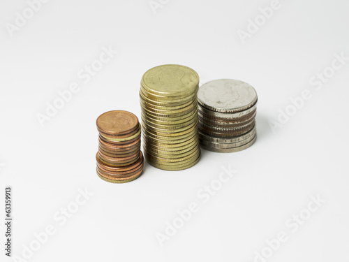Coins stack with close up isolated on white background