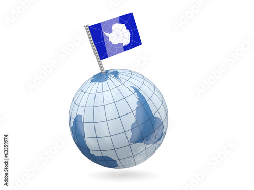 Globe with flag of antarctica