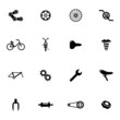 Vector black bicycle part icons set - 63360146