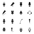 Vector black  microphone  icons set - 63360307