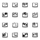 Vector black schoolbooks icon set poster