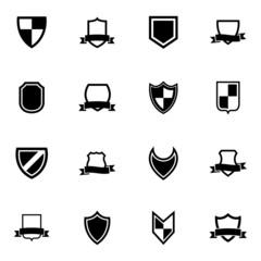 Vector black icon shield icons set
