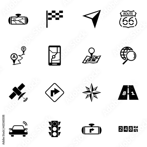 Vector black navigation icons set