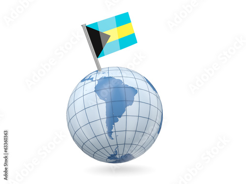 Globe with flag of bahamas