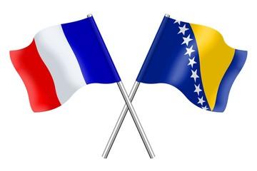 Drapeaux : duo France, Bosnie-Herzégovine