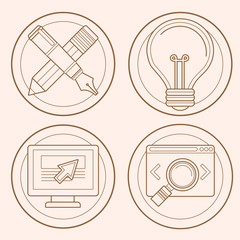 Vector web design and development emblems