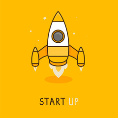 Vector launch icon in flat style - space rocket © venimo