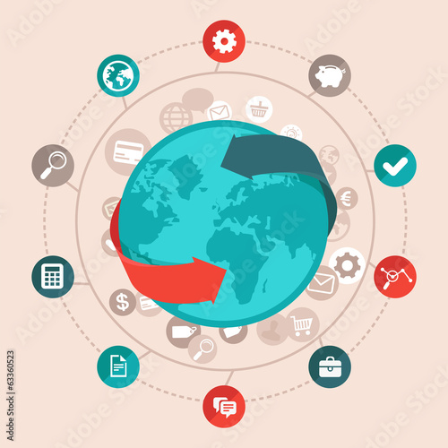 Vector global business concept in flat style