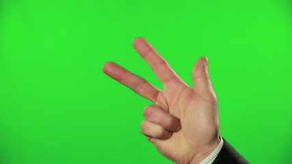 Count to three on green screened, close up