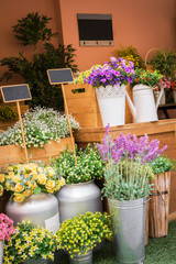 Colorful artificial flowers in flower shop.
