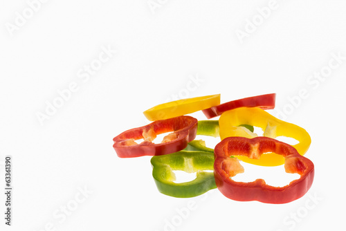 pepper slices isolated