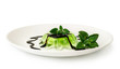green jelly dessert with chocolate and mint