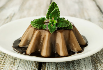 chocolate jelly dessert  with mint