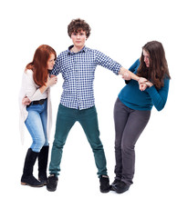 Two girl fighting over a boy