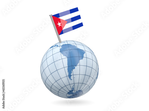 Globe with flag of cuba