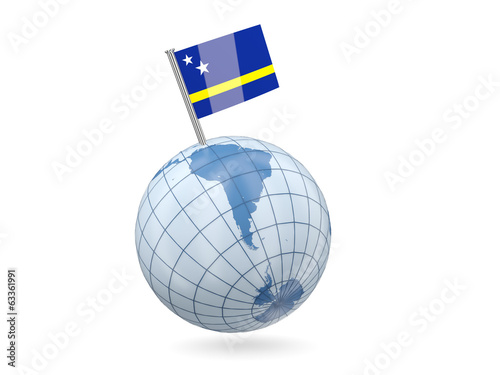 Globe with flag of curacao