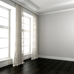 Bright room with dark floor