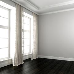 Bright room with dark floor