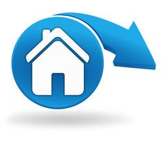 maison sur bouton bleu