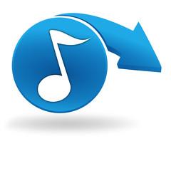 note de musique sur bouton bleu