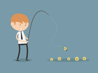 Businessman Fishing Money Idea Concept
