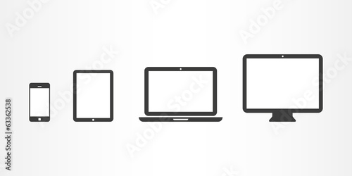 Device icons: smartphone, tablet, laptop and desktop computer poster