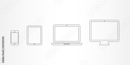 Device icons: smartphone, tablet, laptop and desktop computer - 63362556