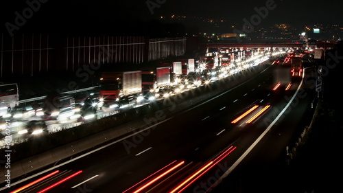 Trafficjam timelapse at night