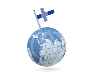 Globe with flag of finland